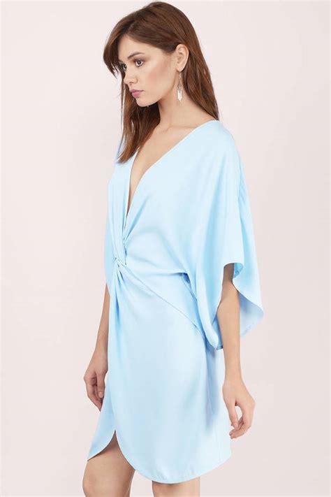 light blue dress light blue dress front knot dress blue kaftan dress