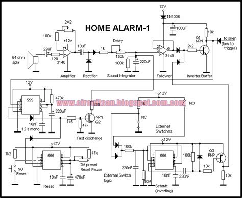 build a simple home alarm circuit using 555 ic s