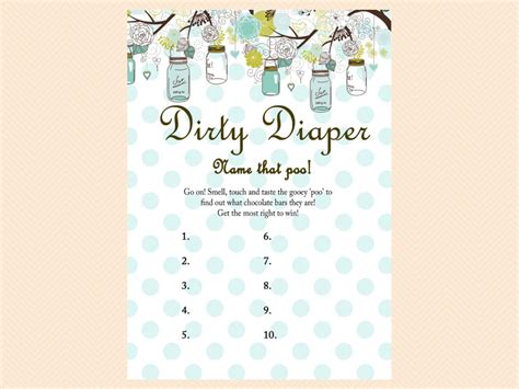 Baby Shower Guess The Date by Dirty Diaper Name That Poo Chocolate Bar Game Rustic Mason