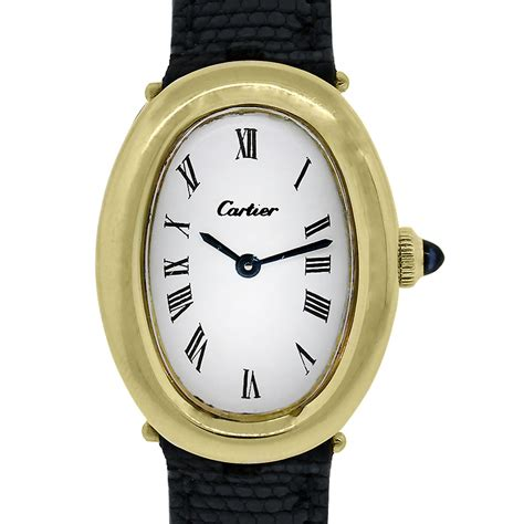 cartier baignoire 18k yellow gold on leather