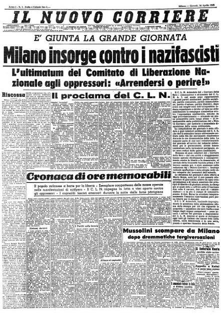 la bomba in testa le prime pagine sul 25 aprile 1945 il post