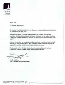 contractor recommendation letter template letter