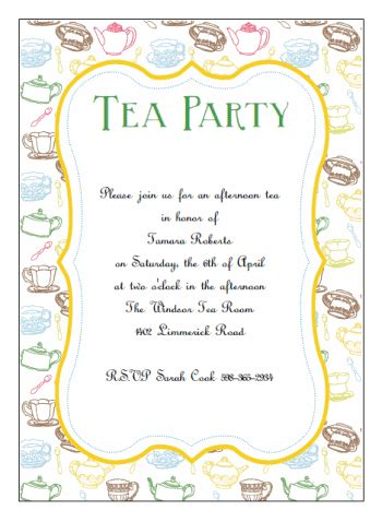 tea invitation template tea invitation templates printable