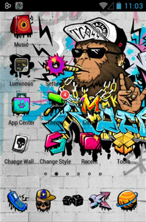 rock graffiti android theme   launcher androidlookscom