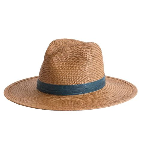 Hats On To Marc Color Shape by Janessa Panama Straw Fedora With Navy Leather