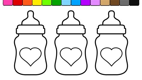 coloring page baby bottle learn colors and color heart baby bottles coloring pages
