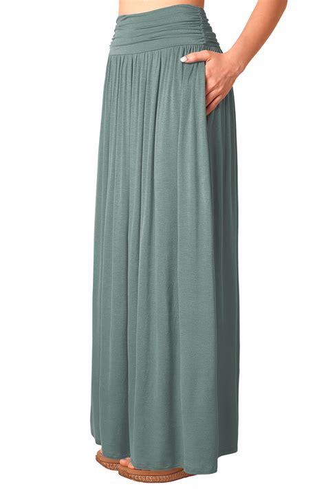 Wedges Pocket Flare Skirt pleated high waist stretchy plain jersey flared swing pocket maxi skirt ebay