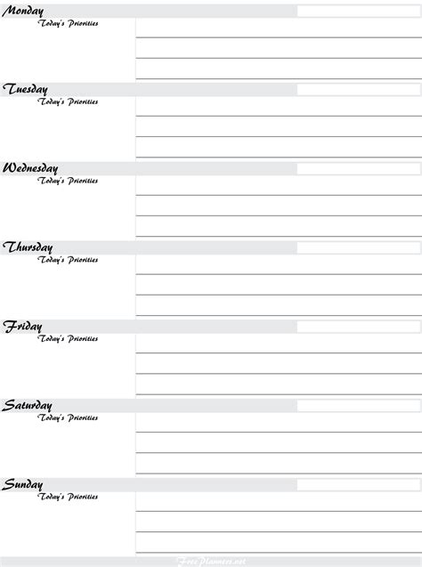 free printable daily planner sheets 2015 4 best images of free weekly planner printable 2014 2015