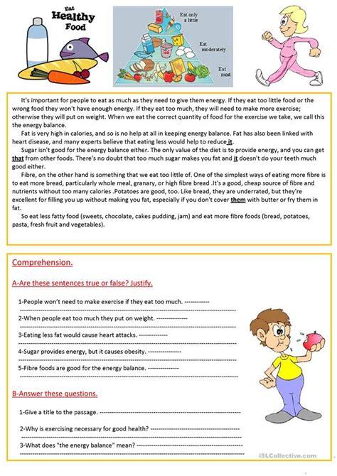 reading comprehension test about food 51 free esl eat worksheets
