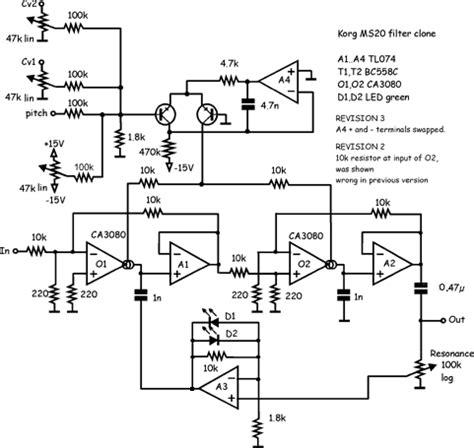 diode ladder filter schematic electro wiki schematics korg late ms 20 filter