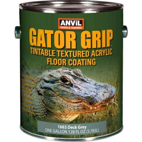 anvil 1 gal deck grey gator grip acrylic textured solid color interior exterior floor coating
