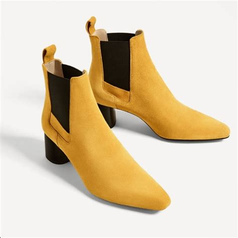 mustard colored shoes zara shoes mustard color leather stretch ankle boots
