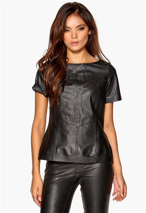 Best Leather by Mexx Leather Top Black Bubbleroom