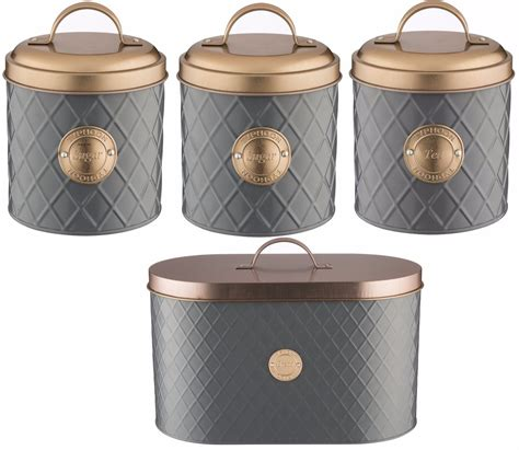 Black And White Kitchen Canisters Typhoon Copper Lid Tea Coffee Sugar Set Canister Bread Bin