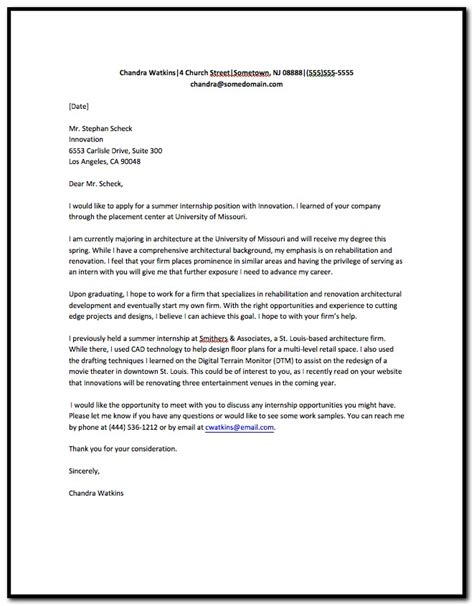 Cover Letter For Resume Internship Position by Sle Of Cover Letter For Internship Resume Cover
