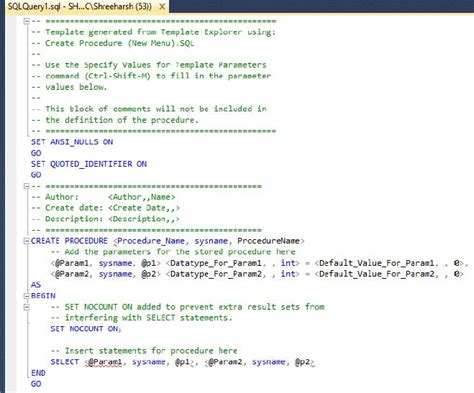 sql server stored procedure template gallery templates