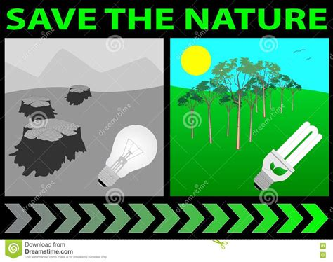 save the nature save the nature lightbulb stock vector image of efficient