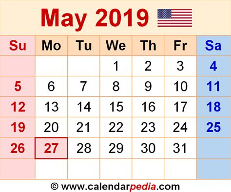 Calendar 2019 May May 2019 Calendars For Word Excel Pdf