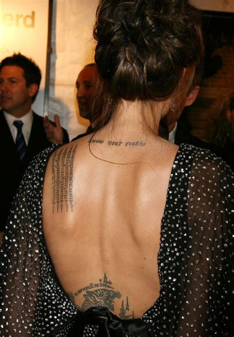 angelina jolie tattoo znaczenie angelina jolie back tattoo 2 tattoos pinterest