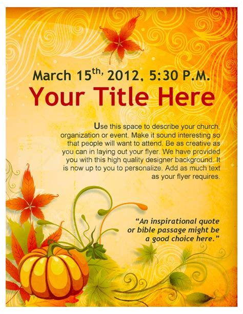thanksgiving flyers free templates best photos of fall templates for microsoft word