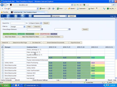 Employee Relations Tracking Spreadsheet by View Timesheet Compliance Reports To Enforce Time