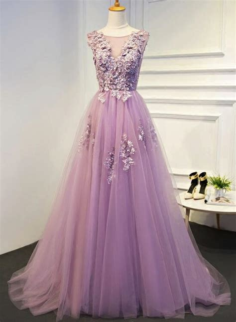 light purple tulle prom dresses  gorgeous prom