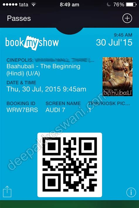 bookmyshow event coupons simple passbook ticket feature in bookmyshow app on apple