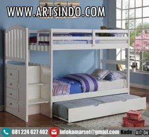 Tempat Tidur Anak Tingkat Ranjang 2 Susun Putih Kayu Mahoni tempat tidur tingkat anak ranjang susun laki laki minimalis arts indo furniture jepara