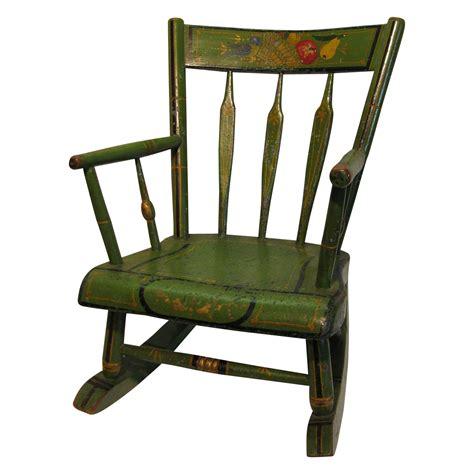 Vintage Child Rocking Chair by Antique Amish Green Folk Stenciled Child S Rocking