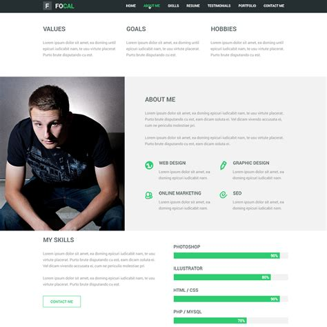 Free One Page Resume Website Template by Free Psd Portfolio And Resume Website Templates In 2017