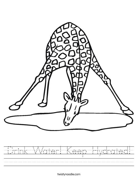 coloring page drinking water drink water keep hydrated worksheet twisty noodle