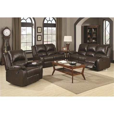 coaster reclining sofa coaster boston 3 piece reclining leather sofa in brown
