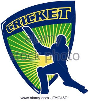 illustration of a cricket batsman silhouette batting front