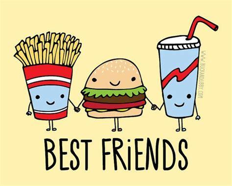 imagenes kawaii bff comida r 225 pida mejores amigos frameable ilustraci 243 n