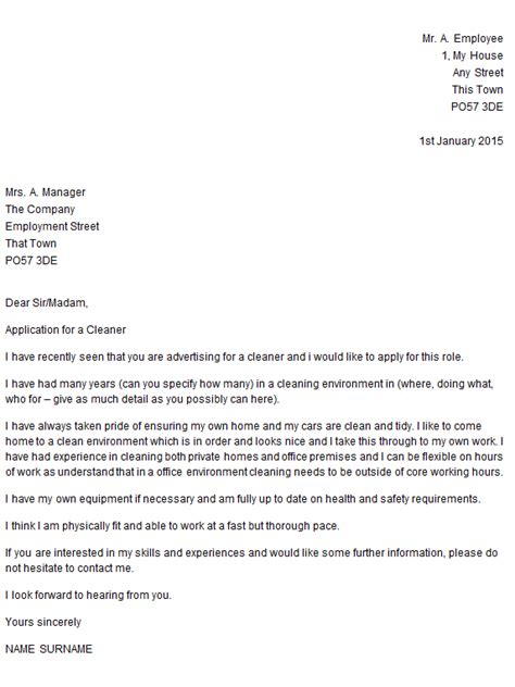 application letter for employment as a cleaner cleaner cover letter exle icover org uk