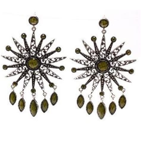 Vintage Bohemian Style Antique Silver Filigree Resin Earrings Hollywood Celebrity Jewelry