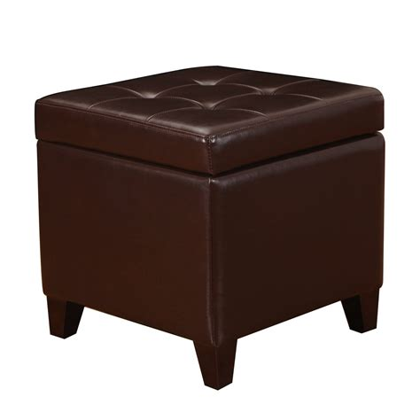 Adeco Brown Bonded Leather Square Tufted Storage Ottoman