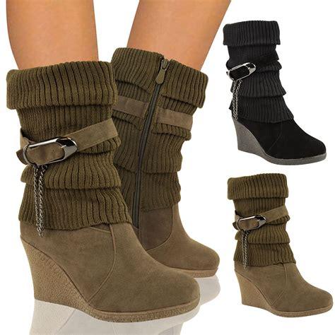 womens mid high wedge heel winter sock biker knee