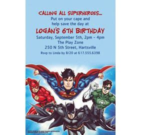 justice league printable birthday cards custom justice league invitations thank you notes