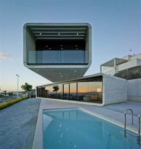 cantilever home concrete cantilever house extends 32 feet over the pool