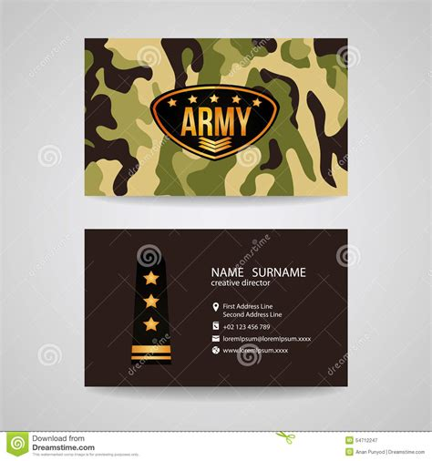 army officer business card template business card template design for army and soldier texture