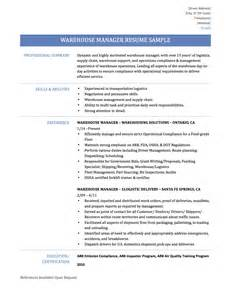 Warehouse Supervisor Resume Sample Warehouse Manager Resume Samples Template And Tips