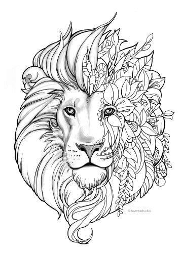 lion blumen fantasy lion malvorlagen pinterest ausmalen