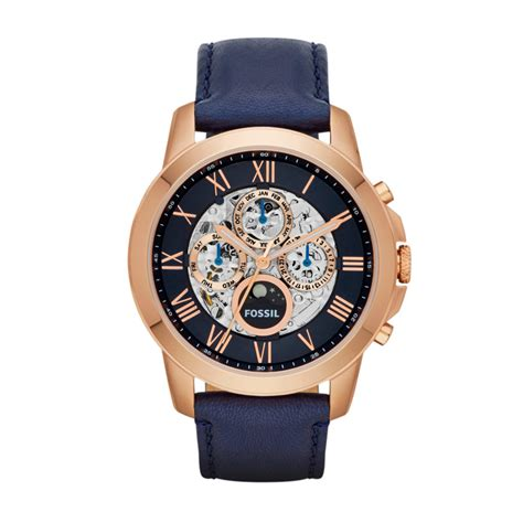 Fossil Korean Style grant automatic leather blue me3029 fossil 174