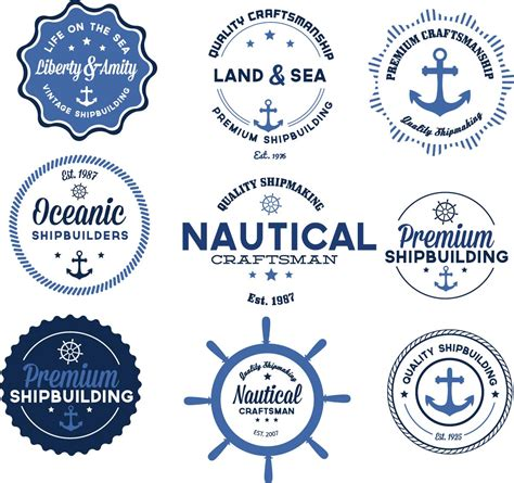 Garage Blue Prints nautical vector badges blue set free download