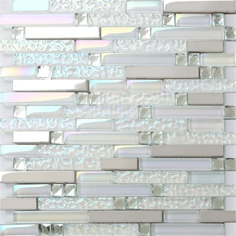 silver stainless steel tile iridescent white glass mosaic