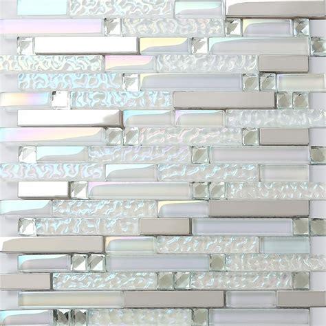 iridescent glass tile backsplash iridescent glass metal stainless steel mosaic tile backsplash