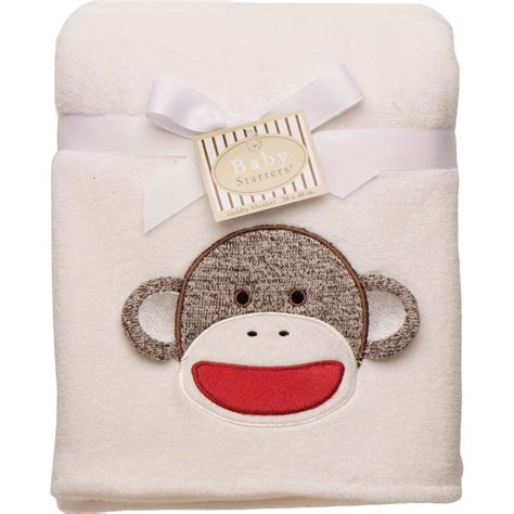 baby starters sock monkey appliqued reversible blanket