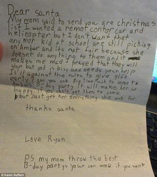 anti bullying note for santa things say
