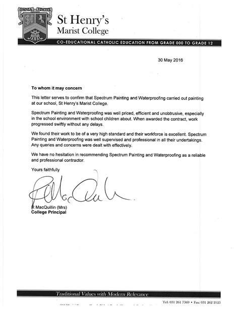 Marist College Letter Of Recommendation Painting Contractor Testimonials Durban
